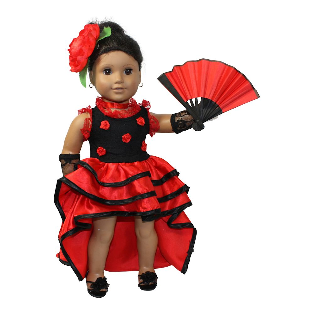 Arianna Nina Flamenco Red Dress doll clothes Fits 18 inch dolls