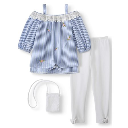 School Girl Outfit (Forever Me Off the Shoulder Embroidered Stripe Top and Legging, 2-Piece Outfit Set With Purse (Little Girls & Big)