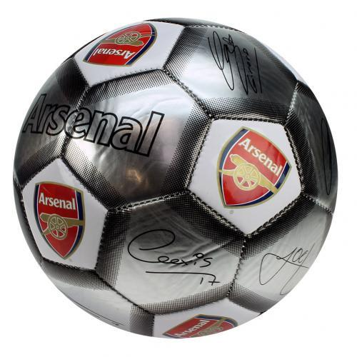 Arsenal FC  - Silver Size 5 Ball With Team Signatures