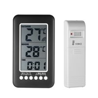 LCD / Digital Wireless Indoor/Outdoor Thermometer Clock Temperature Meter With Transmitter