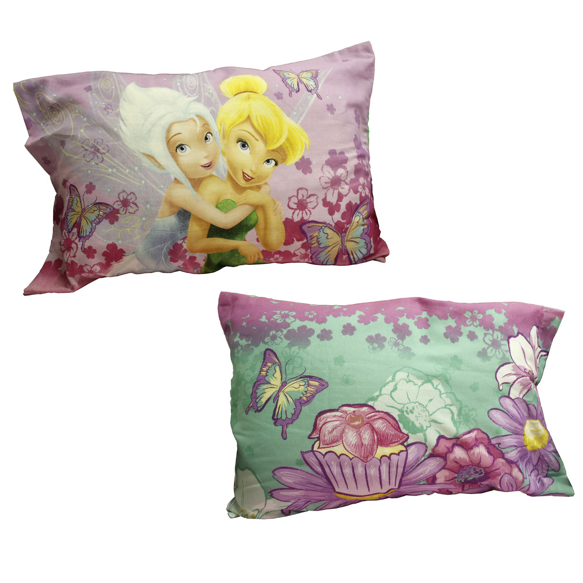 2pc Disney Fairies Pillowcase Set Sweet Tinkerbell and Periwinkle Bedding Pillow Covers by