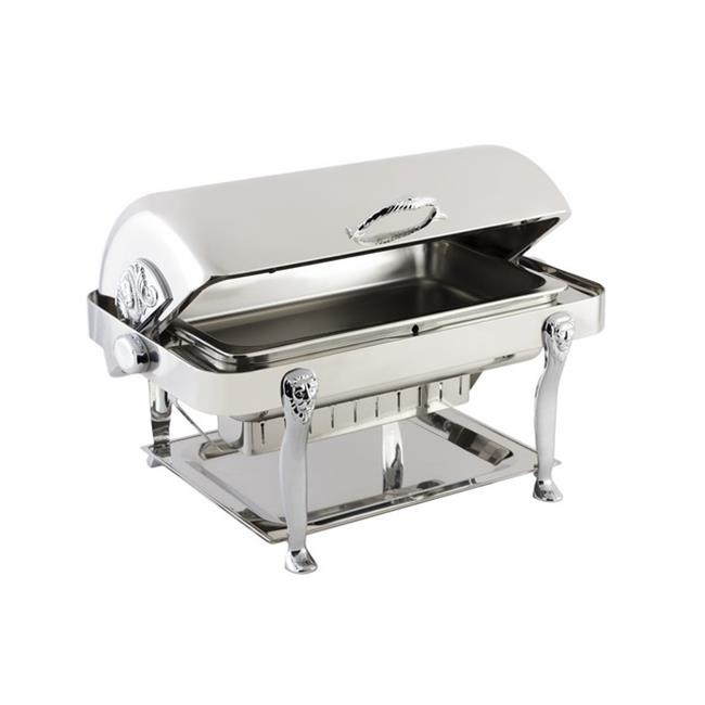 Bon Chef 18040CH Stainless Steel Rectangular Chafer with Lion Leg & Chrome Trim