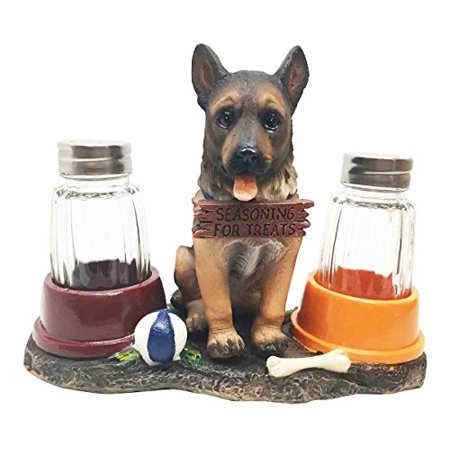 Adorable Canine Patrol German Shepherd Puppy Dog Salt And Pepper Shaker Set With Dog Treat Bowls Figurine Stand Holder Decor Sculpture As Kitchen Decor Table Centerpieces Or Spice Racks Gift