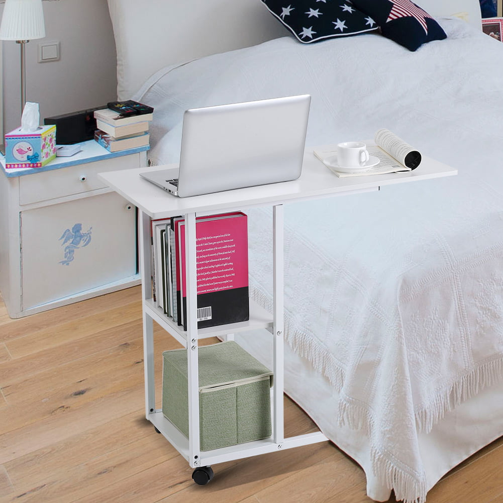 Hilitand Overbed Table Portable Computer Laptop Stand Desk Modern Sofa Table With Wheels Mobile Side Table For Living Room Bedroom With Mini Sofa Cabinet Side Storage Table White Walmart Com