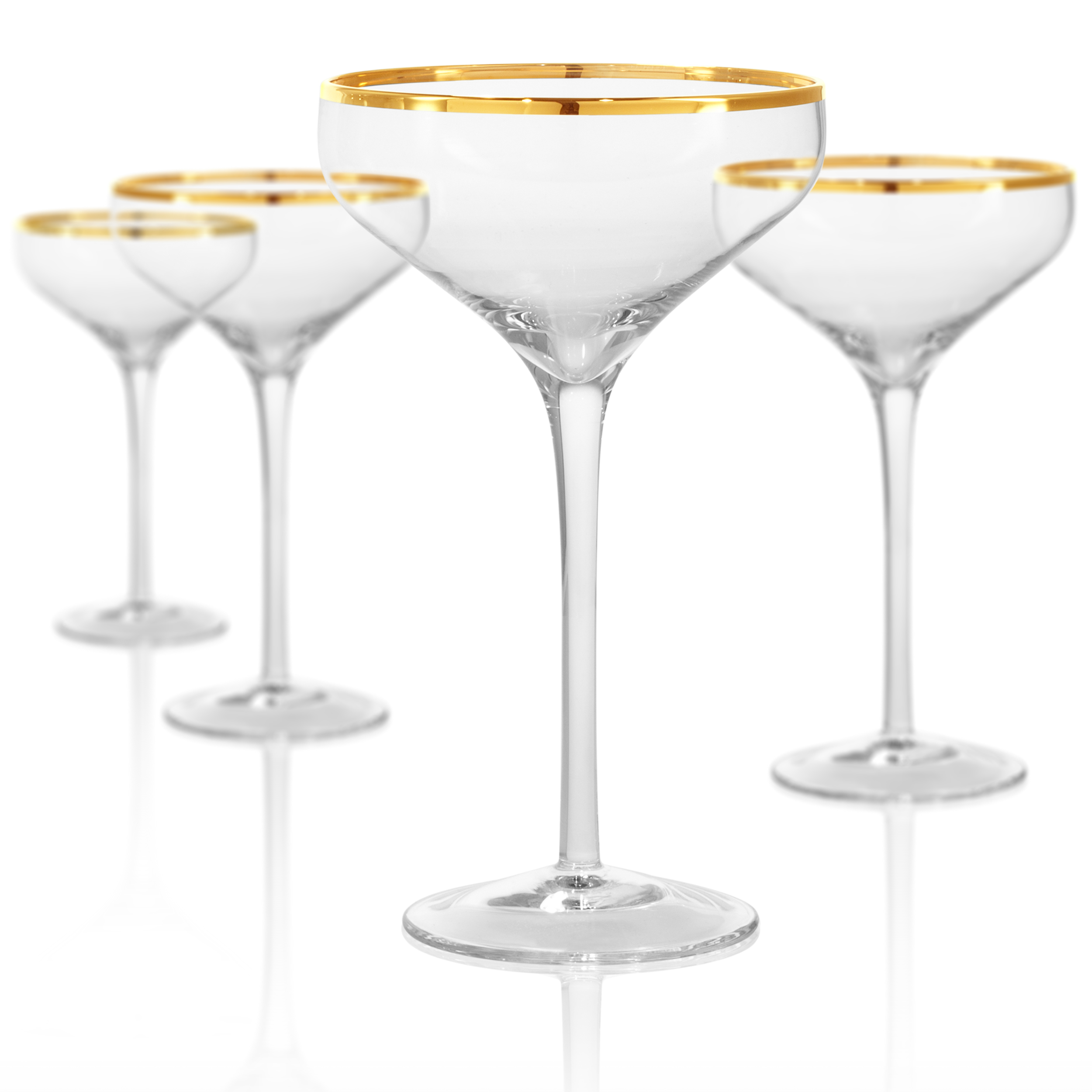 Gold Band Coupe / Saucer Champ Glass 10Oz, Set Of 4