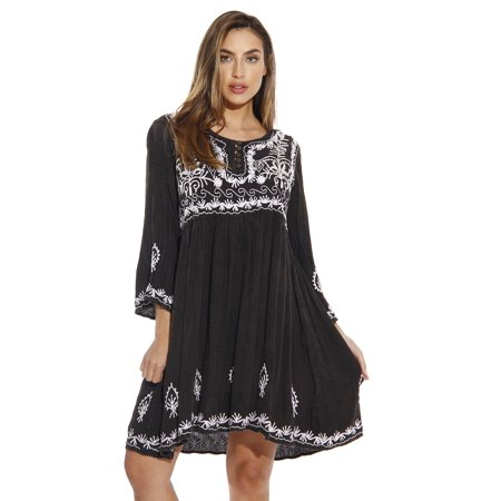 riviera sun 3/4 sleeve embroidered button front tunic dresses for women (black, large)