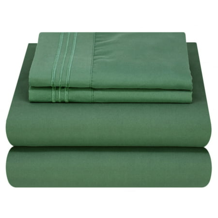 Mezzati Luxury 1800 Prestige Soft and Comfortable Collection Bed Sheets Set King Emerald Green