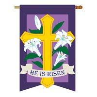 He Is Risen Spring - Seasonal Applique Decorative Vertical House Flag
