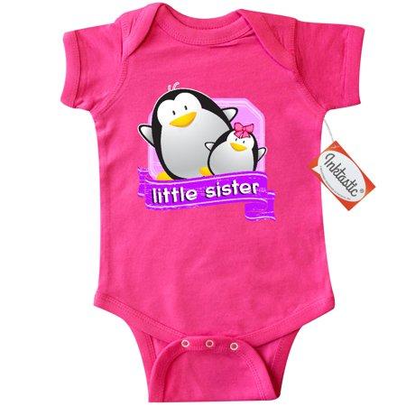 Inktastic Little Sister Penguin Infant Creeper Baby Gift One Piece Bodysuit