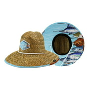 Men's Straw Hat with Fabric Pattern Print Lifeguard Hat, Beach Ocean, Cruise, and Outdoor, Summer, Fits All, Malabar Hat Co