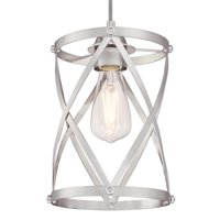 "Westinghouse 6362300 Brushed Nickel Isadora 1 Light 7"" Wide Cage Mini Pendant"