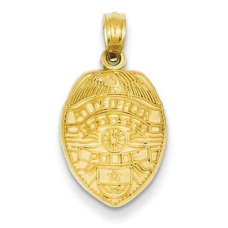 14k Yellow Gold Police Officer Badge Charm Pendant - Firefighter Badge Charm
