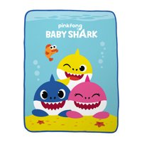 Baby Shark Plush Throw, Kids Bedding, 46 x 60, Shark Friends