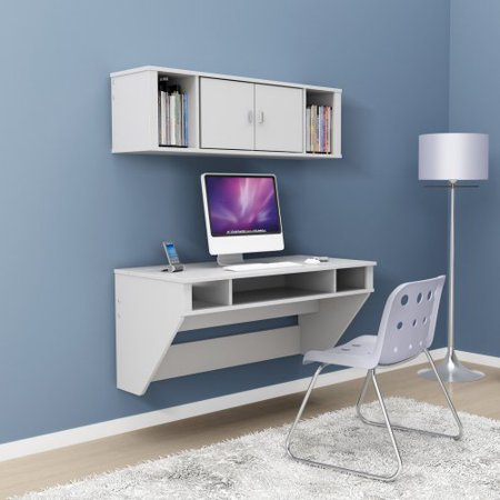 designer floating desk with optional hutch white