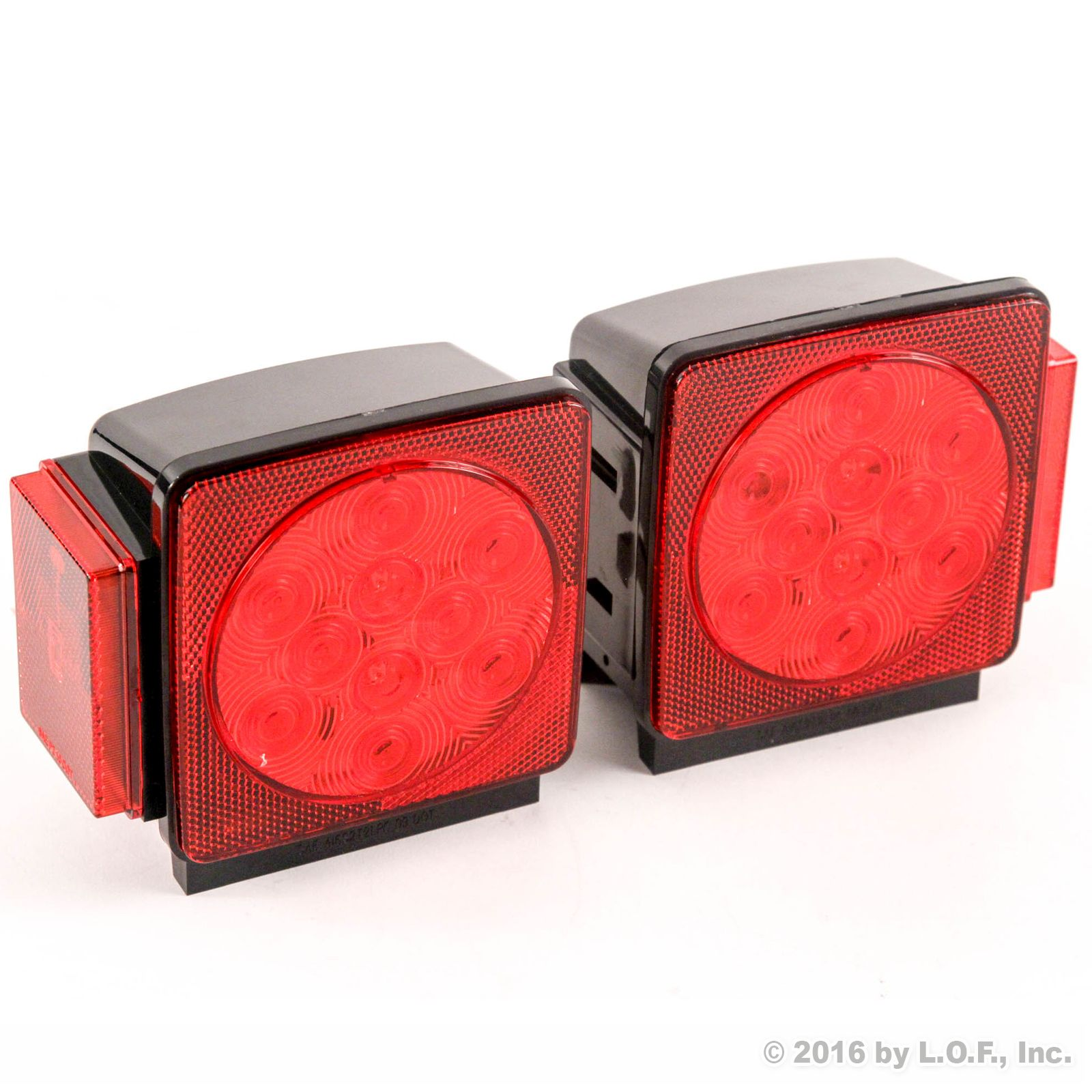 LED Square Red Trailer Turn/Signal/Stop 2 Light DOT compliant Set L/R Submersible Under 80