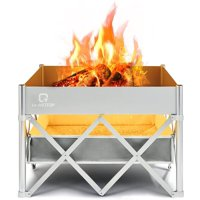 Qomotop 24 Inch Instant Fire Pit with Heat Shield