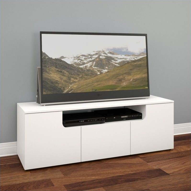 "Nexera Arobas White 60"" TV Stand For TVs up to 66"""