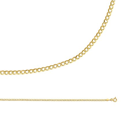 Cuban Chain Solid 14k Yellow Gold Necklace Curb Link Concave Thin Dianty Genuine , 2 mm - 16,18,20,22,24 inch