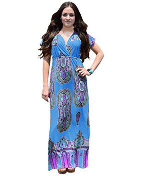 e7116956c5b6 Product Image Peach Couture Paisley Printed V Neck Elastic Waist Short  Sleeve Maxi Dress