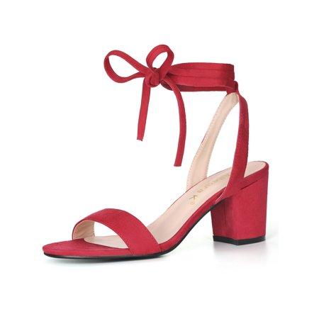 Unique Bargains Women's Open Toe Ankle Tie Mid Block Heeled Sandals