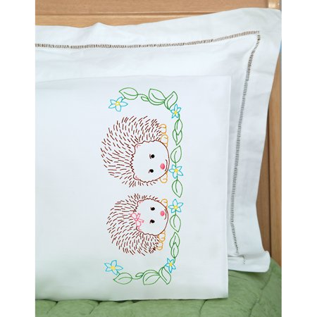 Children's Stamped Pillowcase W/White Perle Edge 1/Pkg-Hedgehogs - image 1 of 1