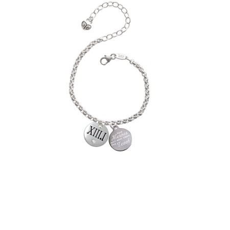 Silvertone Half Marathon with Clear Crystal Roman Numeral Real Heroes Don't Wear Capes They Teach Engraved Bracelet