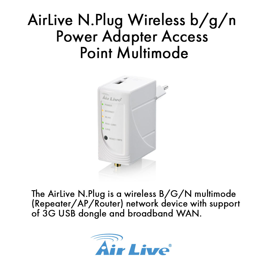 Airlive N.PLUG Wireless b/g/n Power Adapter Access Point