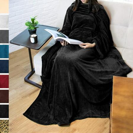 Premium Fleece Blanket with Sleeves by Pavilia   Warm, Cozy, Extra Soft, Functional, Lightweight (Black, Kangaroo Pocket)