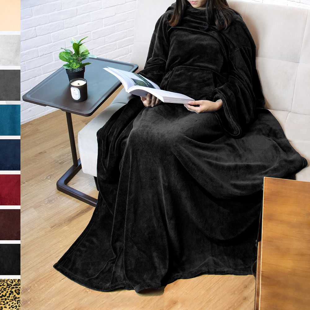 Premium Fleece Blanket with Sleeves by Pavilia | Warm, Cozy, Extra Soft, Functional, Lightweight (Black, Kangaroo Pocket)