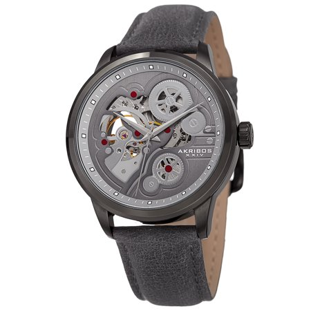 Men's Skeleton Automatic Movement Leather Grey Strap Watch