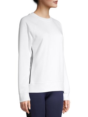 Avia Women's Athleisure Tape Side Pullover Crewneck Sweatshirt