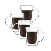 JavaFly Double Wall Glass Mug With Handle, Set of 4, Tea Cups and Insulated Coffee Mugs for Latte, Espresso, 12 oz