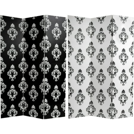 6' Tall Double Sided Black and White Damask Canvas Room Divider