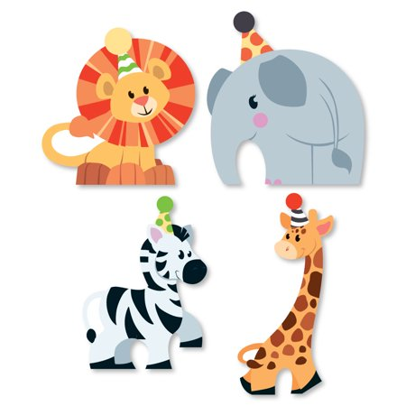 Jungle Party Animals - Shaped Safari Zoo Animal Birthday Party or Baby Shower Cut-Outs - 24 Count