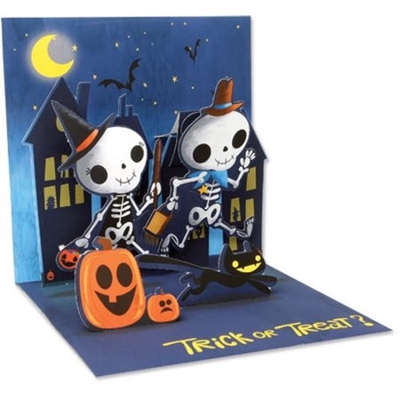Up With Paper Juvenile Skeletons Pop-Up Halloween Card - Halloween Pop Up Cards To Make
