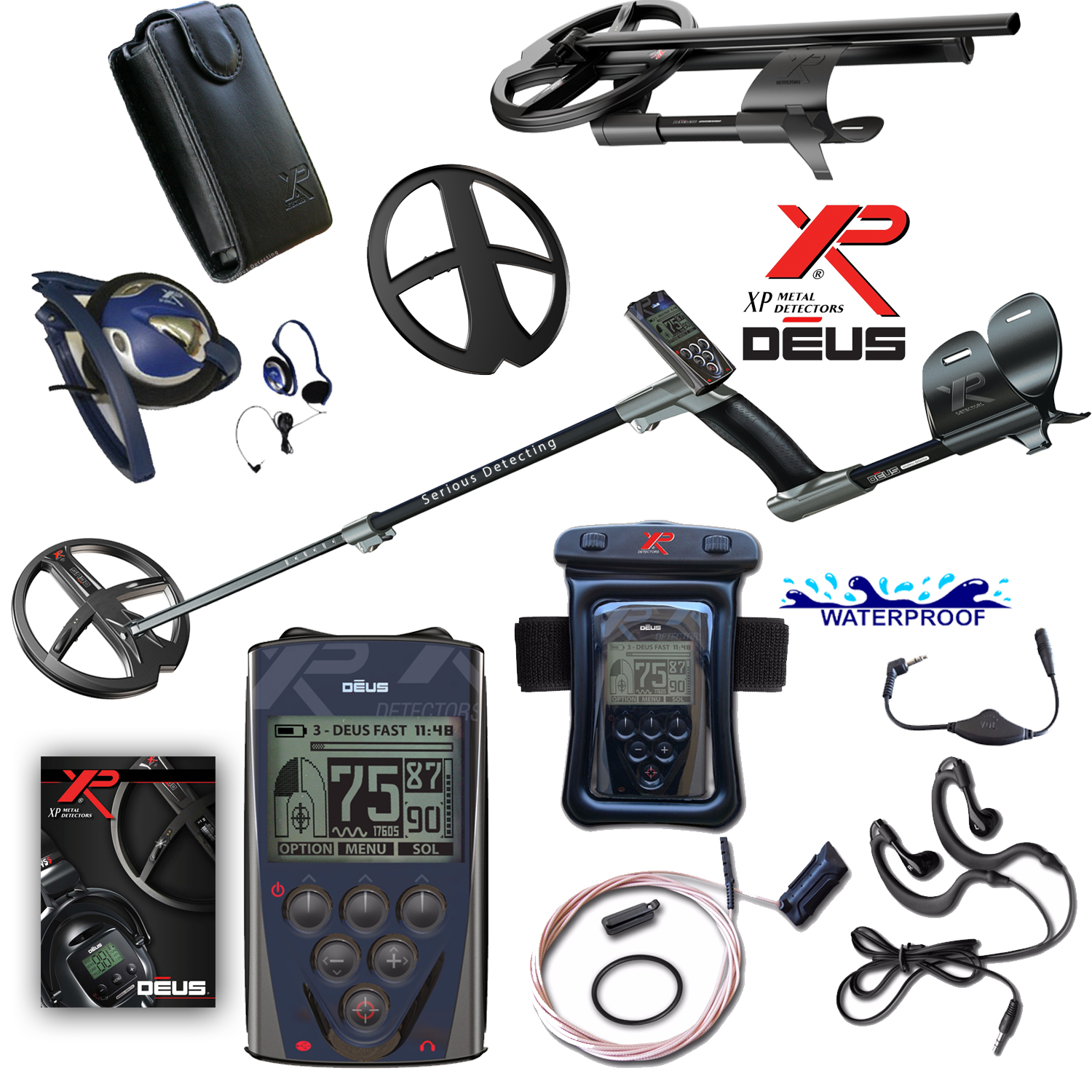 XP Deus Metal Detector with Wired Backphone and Remote including 9 inch Coil and Waterproof Kit by