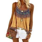 Over Size S-5XL Womens Boho Strappy Tank Tops Casual Loose Camis Ladies Summer Beach Vest Blouse Casual Printed Tunic Blouse Tee