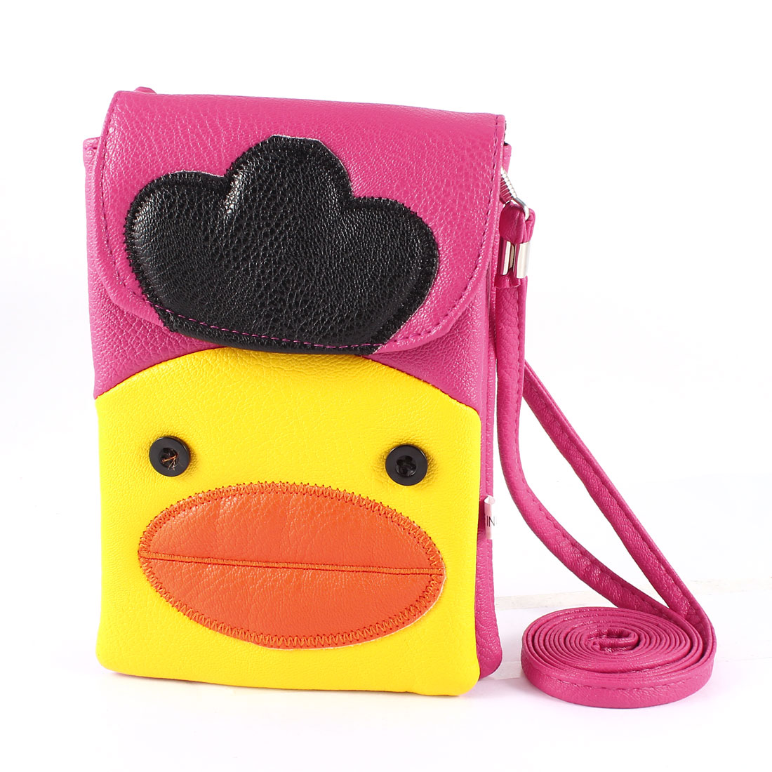 Fuchsia Yellow Duck Print  2 Compartments Coin Cell Phone Bag Purse Pouch - image 1 of 1