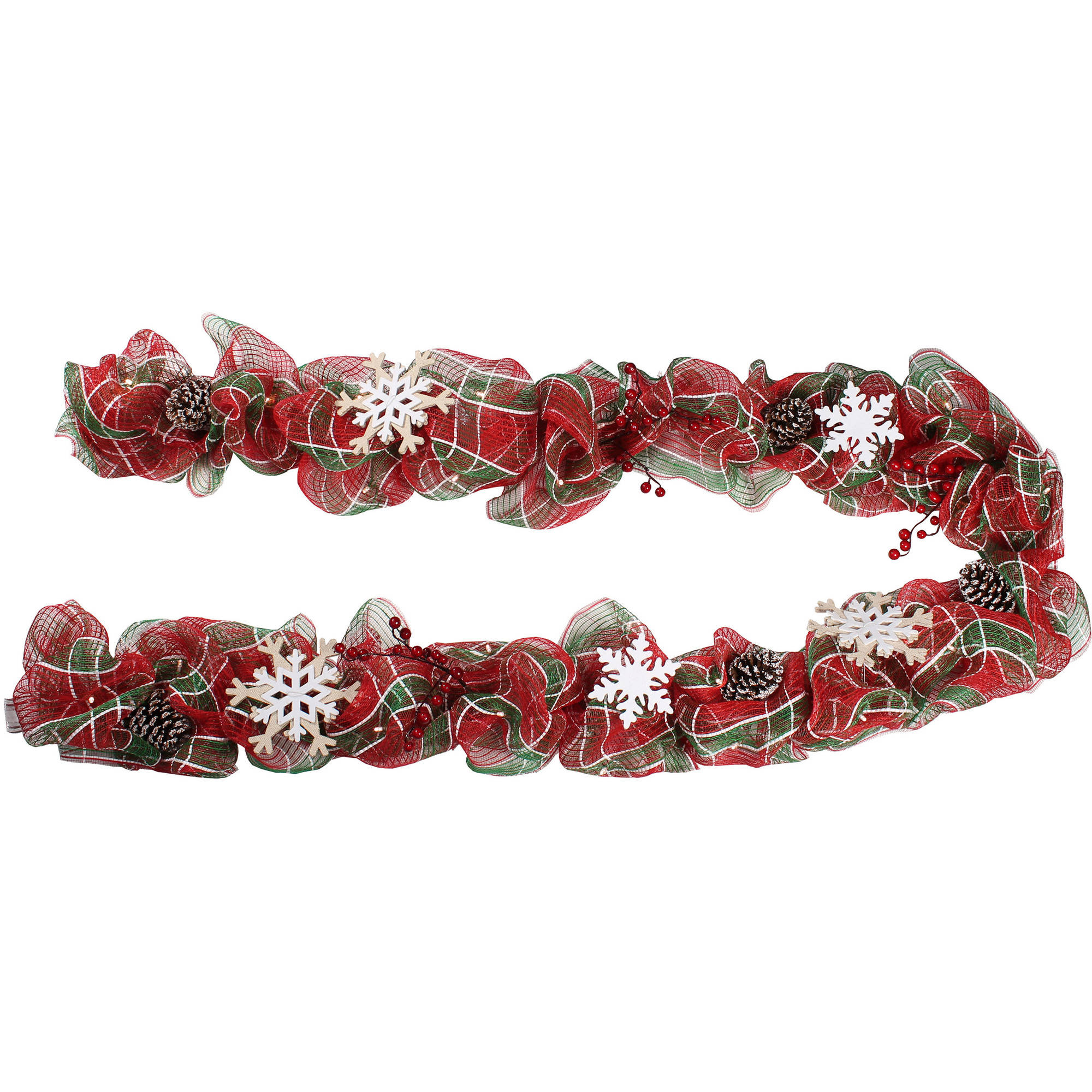 Holiday Time Plaid Lighted Garland, 9'