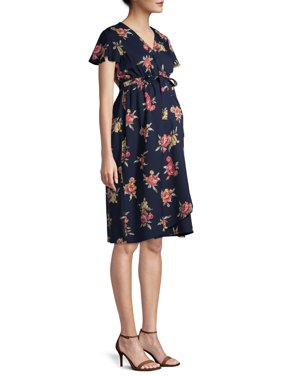 Oh! Mamma Maternity Angel Sleeve Wrap Front Dress with Elastic Waist