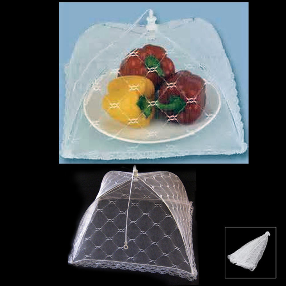 Set 12 Large Pop-Up Mesh Screen Protect Food Cover Tent Dome Net Umbrella Picnic