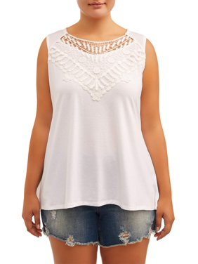 0eed2604 Product Image Juniors' Plus Size Crochet Applique Tee