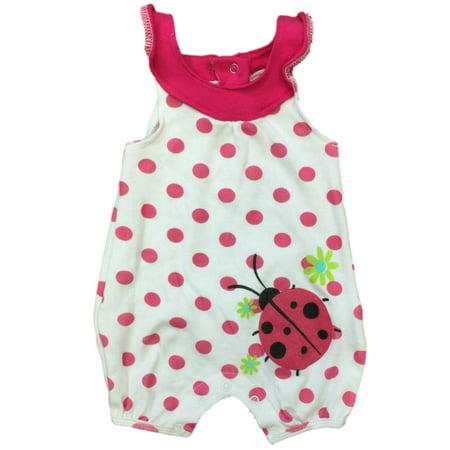 Infant Girls Baby Romper Pink Polka Dot Ladybug Bodysuit Lady Bug Creeper