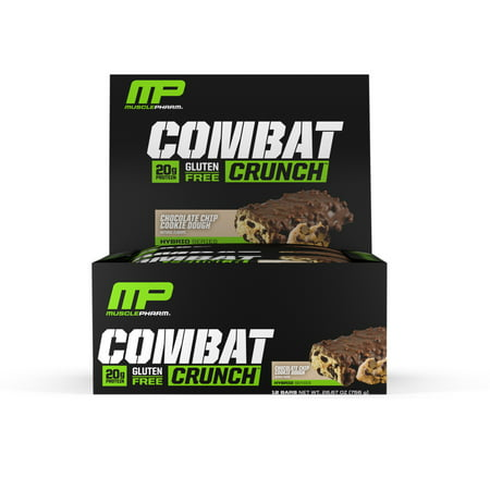 - MusclePharm Combat Crunch Protein Bar, Chocolate Chip Cookie Dough, 20g Protein, 12 Ct