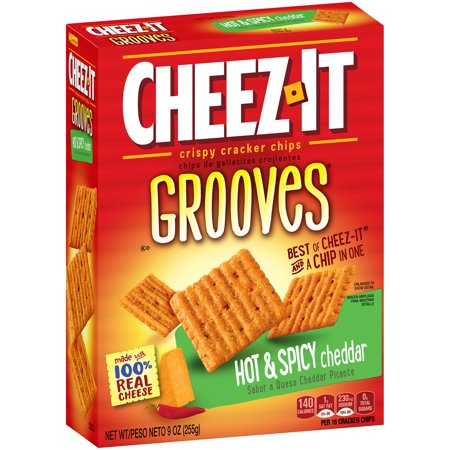 Cheez It Grooves Hot   Spicy Cheddar Crispy Cracker Chips 9 Oz  Box