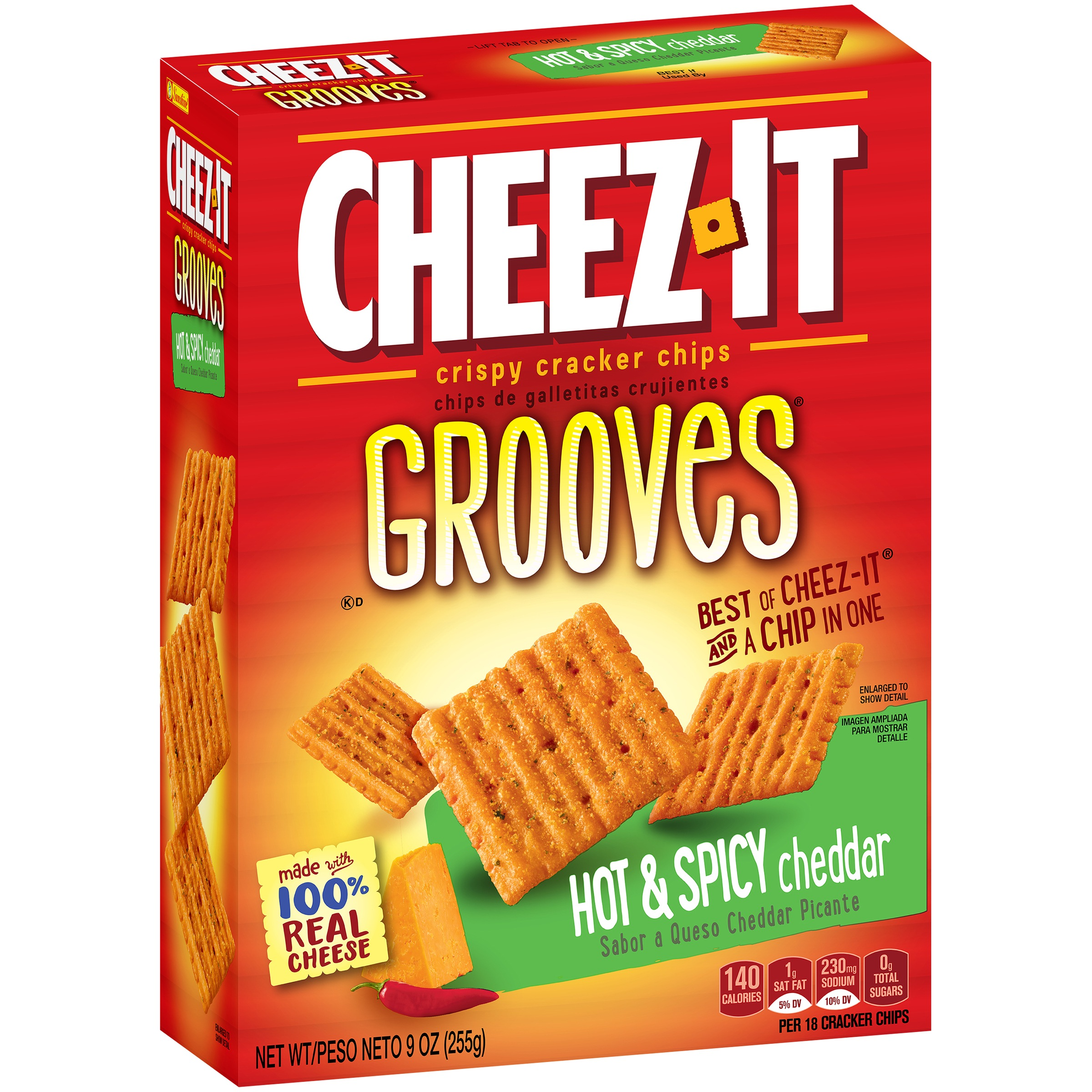 (2 Pack) Cheez-It Grooves Crispy Cheese Cracker Chips, Hot & Spicy Cheddar 9 oz