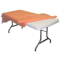 Peach plastic table roll 40in. x 100ft.