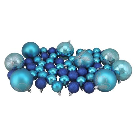125ct Regal Peacock Blue Shatterproof 4 Finish Christmas Ornaments