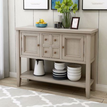 GearStar Console Table Sideboard Buffet Storage Cabinet Home Furniture for Entryway Hallway with Bottle Shelf (Antique Grey) ()