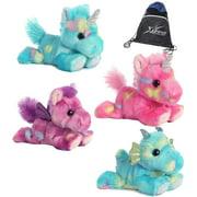 Aurora 4 Stuffed Beanbag Plushies: Tutti Frutti Pegasus, Blueberryripple & Jellyroll Unicorns & Sprinkles Dragon